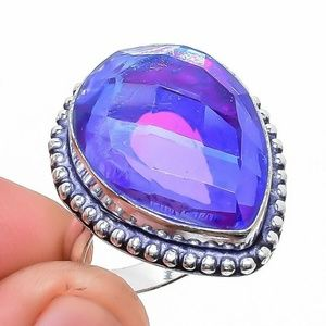 Blue Fire Mystic Topaz 925 Sterling Silver Ring 8